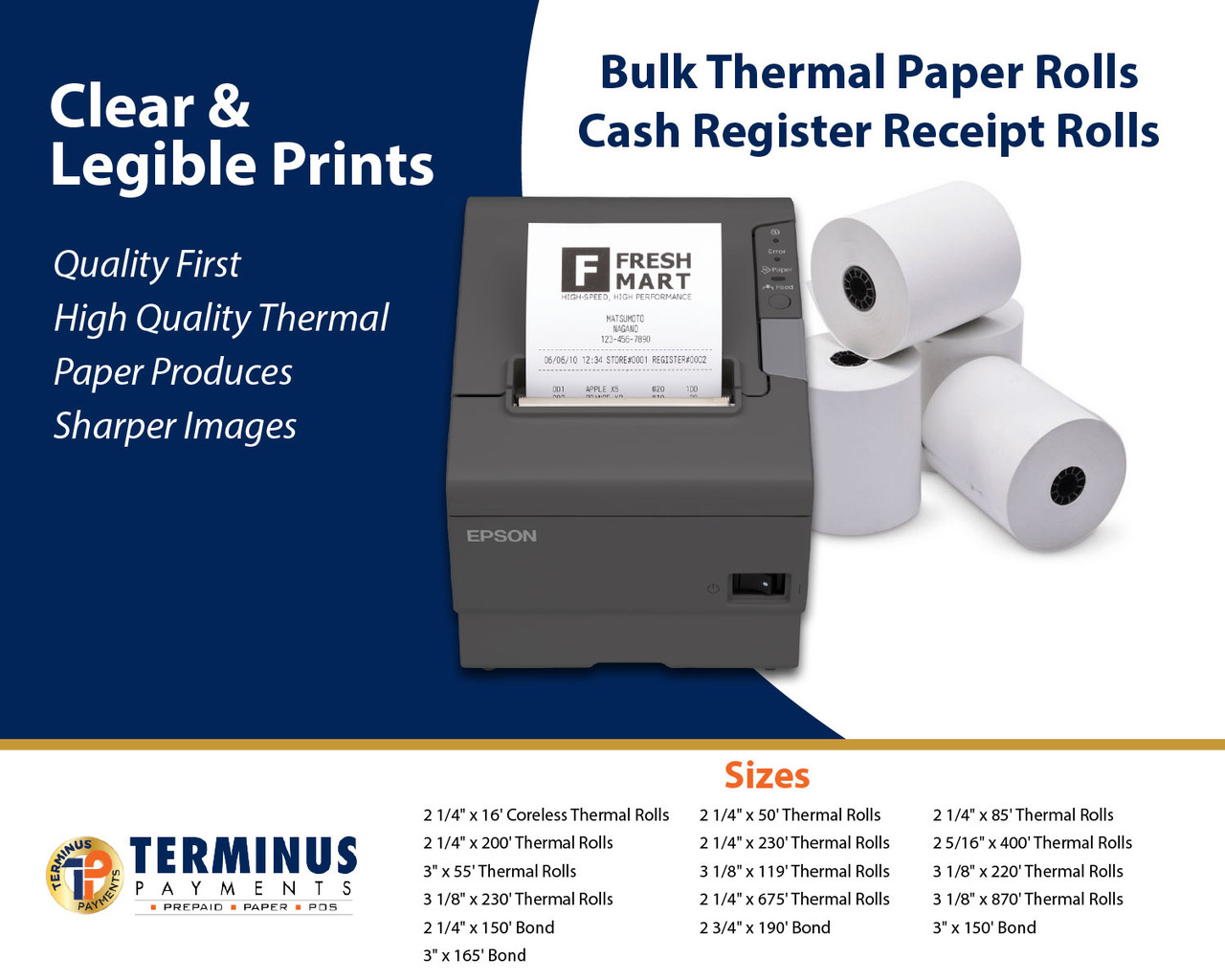 """2 1/4"""" X 675' Heavyweight Thermal ATM Paper (8 Rolls)"""