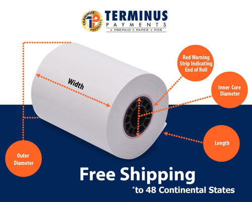 """3 1/8"""" X 870' Heavyweight Thermal ATM Paper (8 Rolls)"""