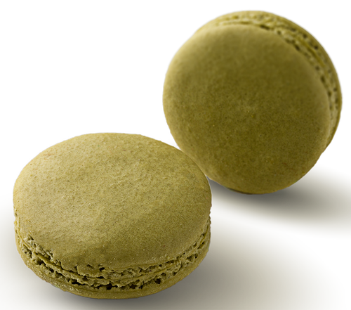 PISTACHIO Pistachio infused white chocolate ganache in a hand made macaron shell