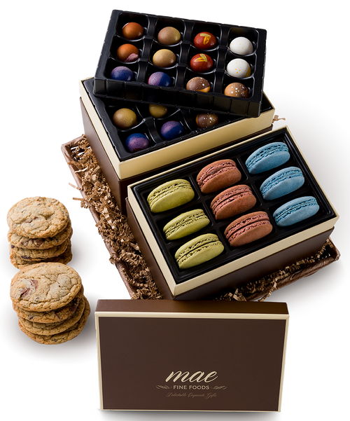Gift Basket | Macarons Bonbons Chocolalte Chunk Cookies buy online | ships nationally
