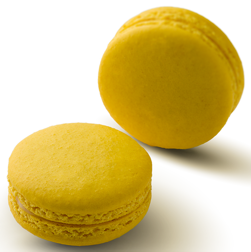LEMON MACARON ONLINE -  Lemon infused white chocolate ganache in a hand made gluten free macaron shell
