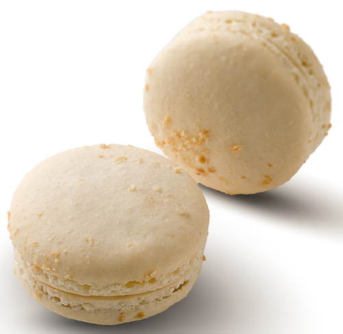 Pina Colada Macaron - Coconut and rum infused white chocolate in a coconut dusted hand made gluten free macaron shell