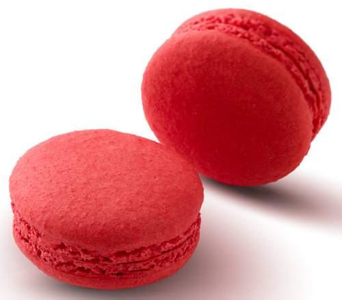 STRAWBERRY MACARON Strawberry infused white chocolate ganache in a hand made gluten free macaron shell