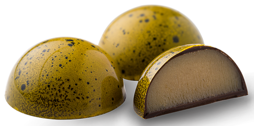 Banana Infused White chocolate ganache finished with dark rum in a dark chocolate shell
