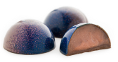 Suspended Vanilla Caramel and vanilla bean infused milk chocolate, encased in a dark chocolate shell.