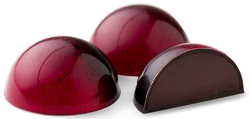 Raspberry infused dark chocolate ganache, encased in a dark chocolate shell.