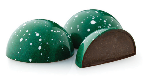 Winter Mint Holiday Bonbon - Mint infused dark and milk chocolate ganache finished with Creme de Menthe, encased in a dark chocolate shell.