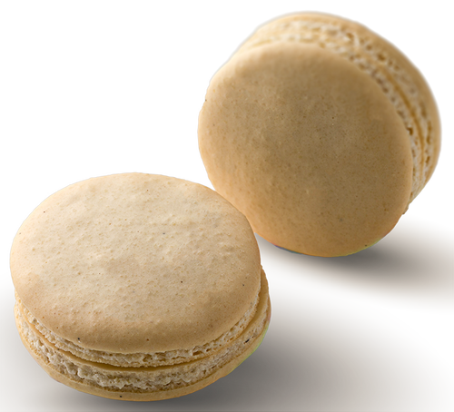 Vanilla Bean Macaron Online - Vanilla Bean infused white chocolate ganache in a hand made gluten free macaron shell