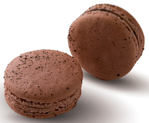 Espresso Bean Macaron Online - Espresso infused milk chocolate ganache in a hand made gluten free macaron shell dusted with Espresso Powder