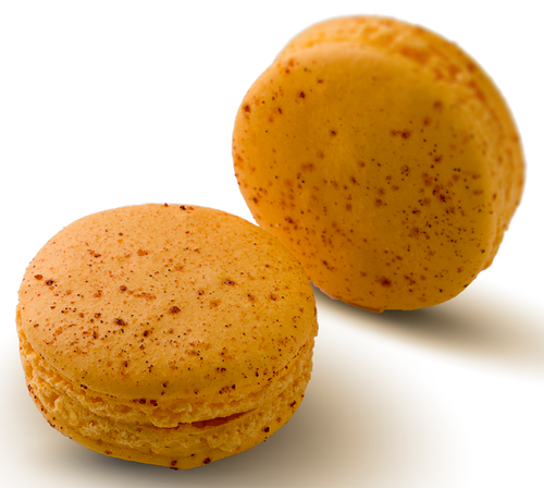 Mango Y Chile Macaron Online - Mango infused white chocolate ganache in a chile dusted handmade gluten free macaron shell