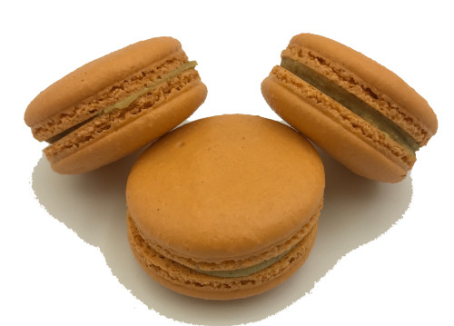 Pumpkin Spice Latte Macaron Online - Pumpkin and Coffee infused white Chocolate ganache in a handmade macaron shell