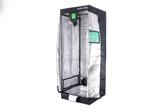 BudBox Pro Medium White 2.5' x 2.5' x 6.6' and is the perfect starter tent for a grow room. It has a 16mm strong steel frame and a silver interior. The BudBox Pro Medium White Grow Tent comes with roof support bars and straps.  The whole BudBox Pro Grow Tent range is now equipped with steel, push & click fit connectors, which, in addition to the thicker tempered steel poles, provide greater load bearing strength for all your filters, fans and lighting requirements. BudBox is still the ONLY grow tent that takes the time and care to powder coat our poles and connectors, delivering the best possible anti-corrosion protection and a very clean and reflective look. Our philosophy at BudBox is and will remain the cornerstone of our success and is not open to negotiation or compromise, WE USE THE BEST THERE IS ! All the component parts used in the construction of BudBox Grow Tents are sourced, tried & tested and are guaranteed safe for plants and people to use.  Maintaining a proper growing environment is crucial for a successful, high-yielding grow. Indoor growing tents provide a convenient way to isolate your growing area so you can maintain proper temperature, humidity, light and odor containment while keeping out dust and insects. BudBox grow tents are the newest, highest-quality, sturdiest tents we've used- and over many years of indoor growing, we've tried them all! Featuring the first white interior we have seen, easy assembly, easy access, sturdy frames to hold lights, filters and fans, the BudBox tents are the best way to create a self-contained environment for your indoor garden and maximize yields. A gorilla could hang from these grow tents!  - Strongest tent available - Award winning grow tents - Strong, black powder-coated frames 25mm tempered rolled steel - All metal push & click corner connectors - Large access doors / Inspection windows - Military grade zippers - Green viewing window - Double stitched seams - Uplift irrigation bar - Double cuff vents - 20% o