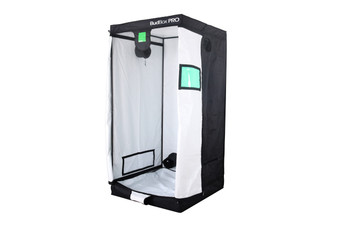 BudBox PRO L200- HL White 3x3 grow tent The whole BudBox Pro Grow Tent range is now equipped with steel, push & click fit connectors, which, in addition to the thicker tempered steel poles, provide greater load bearing strength for all your filters, fans and lighting requirements. BudBox is still the ONLY grow tent that takes the time and care to powder coat our poles and connectors, delivering the best possible anti-corrosion protection and a very clean and reflective look. Our philosophy at BudBox is and will remain the cornerstone of our success and is not open to negotiation or compromise, WE USE THE BEST THERE IS ! All the component parts used in the construction of BudBox Grow Tents are sourced, tried & tested and are guaranteed safe for plants and people to use. Maintaining a proper growing environment is crucial for a successful, high-yielding grow. Indoor growing tents provide a convenient way to isolate your growing area so you can maintain proper temperature, humidity, light and odor containment while keeping out dust and insects. BudBox grow tents are the newest, highest-quality, sturdiest tents we've used- and over many years of indoor growing, we've tried them all! Featuring the first white interior we have seen, easy assembly, easy access, sturdy frames to hold lights, filters and fans, the BudBox tents are the best way to create a self-contained environment for your indoor garden and maximize yields. A gorilla could hang from these grow tents! BudBox Grow Tents have been, and remain, the most trusted name in the indoor grow tent market since its inception 15 years ago! They've been in the industry for over 15 years for a reason! BudBox continues to manufacture and supply high quality, tried, tested & trusted grow tents to both the professional & hobbyist grower.  Pro White material offers class leading PAR results - ALL sizes available in either Pro White or Silver - Strong, black powder-coated frames in 16mm & 25mm tempered rolled steel - All metal 