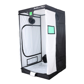 BudBox PRO XL-HL White 4x4 Indoor Grow Tent  The whole BudBox Pro Grow Tent range is now equipped with steel, push & click fit connectors, which, in addition to the thicker tempered steel poles, provide greater load bearing strength for all your filters, fans and lighting requirements. BudBox is still the ONLY grow tent that takes the time and care to powder coat our poles and connectors, delivering the best possible anti-corrosion protection and a very clean and reflective look. Our philosophy at BudBox is and will remain the cornerstone of our success and is not open to negotiation or compromise, WE USE THE BEST THERE IS ! All the component parts used in the construction of BudBox Grow Tents are sourced, tried & tested and are guaranteed safe for plants and people to use.  Maintaining a proper growing environment is crucial for a successful, high-yielding grow. Indoor growing tents provide a convenient way to isolate your growing area so you can maintain proper temperature, humidity, light and odor containment while keeping out dust and insects. BudBox grow tents are the newest, highest-quality, sturdiest tents we've used- and over many years of indoor growing, we've tried them all! Featuring the first white interior we have seen, easy assembly, easy access, sturdy frames to hold lights, filters and fans, the BudBox tents are the best way to create a self-contained environment for your indoor garden and maximize yields. A gorilla could hang from these grow tents! BudBox Grow Tents have been, and remain, the most trusted name in the indoor grow tent market since its inception 15 years ago! They've been in the industry for over 15 years for a reason! BudBox continues to manufacture and supply high quality, tried, tested & trusted grow tents to both the professional & hobbyist grower.   FEATURES Pro White material offers class leading PAR results - ALL sizes available in either Pro White or Silver - Strong, black powder-coated frames in 16mm & 25mm tempered rolled st