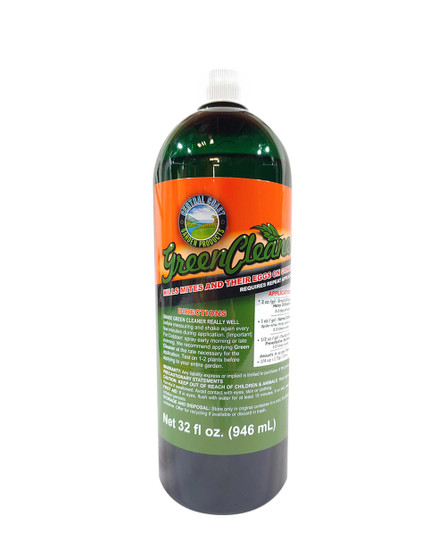 Green Cleaner was designed to kill on contact by suffocating and dehydrating. That is why it is important to thoroughly saturate your infested plants. If the product does not contact the insect it can't suffocate or dehydrate it. Our special formula does not stress the plant and will not damage flowers, fruits or vegetables as long as it is applied under proper lighting and low heat conditions. Green Cleaner is safe for your soil, food and ornamental plants, pets and people. With proper application our product can be used on the day of harvest. Dries off quickly. Tests clean. Clean ingredients means clean test results. Passes strict lab parts per billion testing.  Safe to apply daily and will not interfere with plant development. Safe to apply on day of harvest and as often as required throughout growth.  Safe for food and medicinal plants. Biodegradable. PBA Free or HDPE grade bottles. Green Cleaner is not registered with the E.P.A. since it qualifies for exemption under FIFRA section 25 (B) as a minimum risk pesticide. Green Cleaner KILLS SOFT BODY INSECTS, THEIR LARVAE AND EGGS, POWDERY MILDEW, MOLD AND FUNGUS ON CONTACT WITHOUT USING DANGEROUS CHEMICALS! After saturation of the entire plant, Green Cleaner will cover the target insect, egg case or larvae. It's active ingredients then cause disruption of respiration and digestion. It also penetrates to dehydrate their entire body. Insects can never become immune to this product because they can't get immune to suffocation or dehydration. Many insects and diseases are killed on contact with one application. An infest will take repeated application to eliminate the problem.