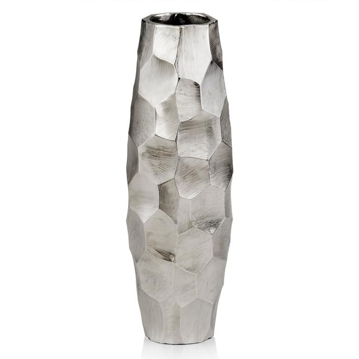 Facetado Barrel Silver Vase