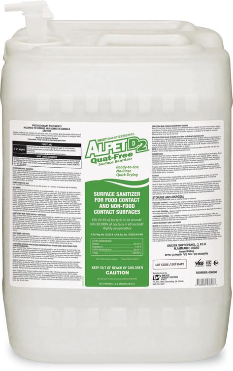 Alpet D2 Quat Free Surface Sanitizer 5 Gallon Pail W