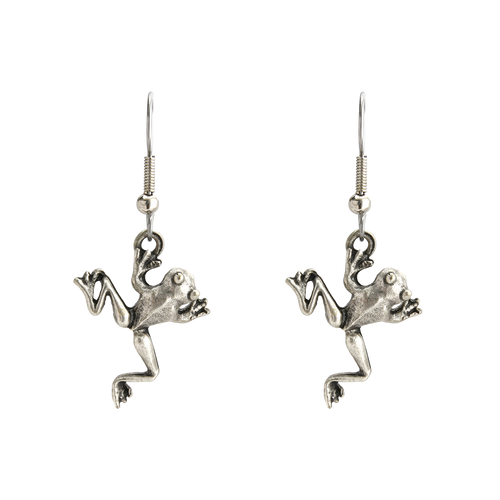 Silver Oxi Finish Frog Necklace & Earring Set