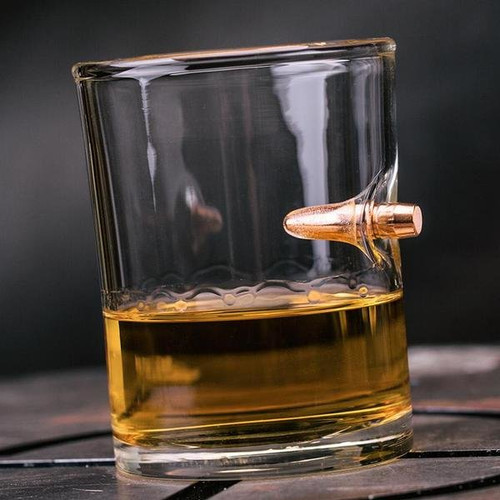 .308 Real Bullet Handblown Whiskey Glass