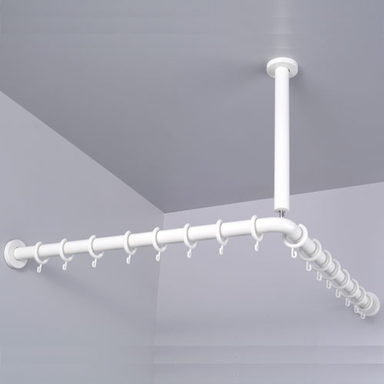 Pba Nylon Corner Shower Curtain Rod With Ceiling Support