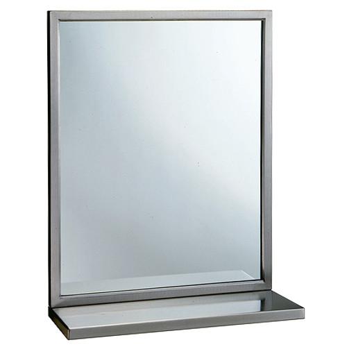 Bobrick Angle Frame Mirror With Shelf