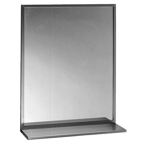 Bobrick Stainless Steel Channel Framed Mirror with Shelf - Float Glass