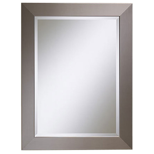 Kentwood Rectangular Beveled Mirror in Faux Stainless Steel