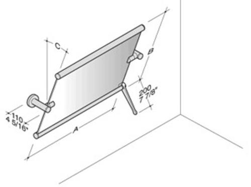 PBA Adjustable Wall Mirror with Control Rod