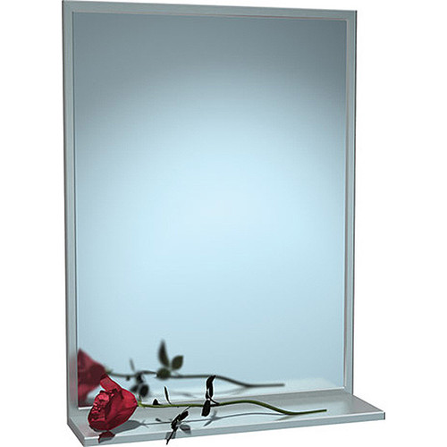 ASI Chan-Lok Stainless Steel Frame Mirror with Shelf - Plate Glass