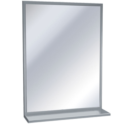 ASI Inter-Lok Stainless Steel Framed Mirror with Shelf - Plate Glass
