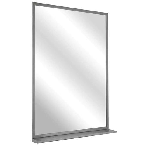 Bradley Stainless Steel Channel Frame Mirror with Shelf - Float Glass