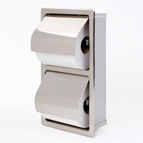 Bradley Recessed Vertical Toilet Tissue Dispenser with Hinged Hoods