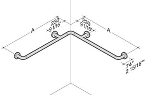 PBA Nylon Horizontal Symmetric Corner Grab Bar
