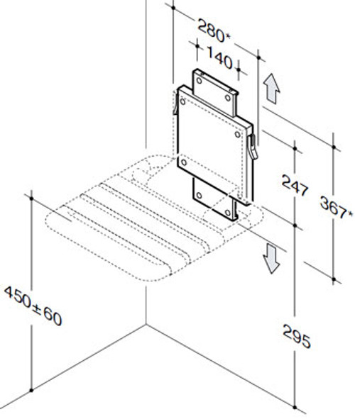 Pba Marine Grade Stainless Steel Nylon Wall Mounted Fold Up Shower