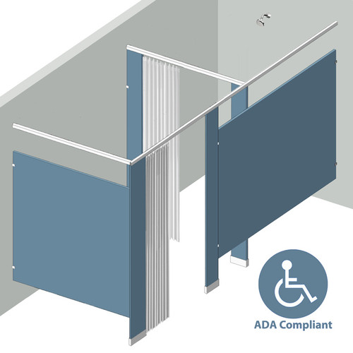 """Shower/Dressing Combo - In Corner - Left Hand - 1 Stall ADA 60"""" Shower Area with Curtains"""