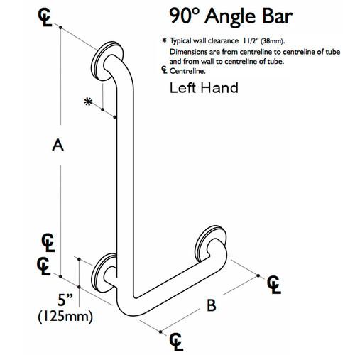 Custom Grab Bar 90 Angle LH, 1 Wall, 3 Flange (CGB-L-1W-3F)