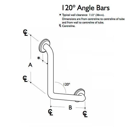 Custom Grab Bar, 120 Angle Bar, 1 Wall, 2 Flange (CGB-120AB-1W-2F)