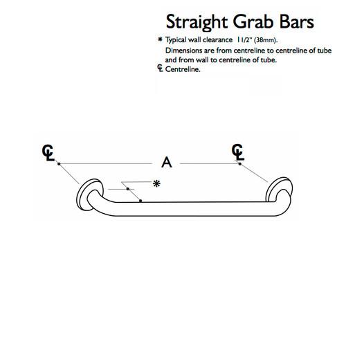 Custom Grab Bar, Straight Bar, 1 Wall, 2 Flange (CGB-SGB-1W-2F)