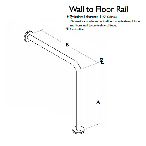 Custom Grab Bar, Wall to Floor Rail, 1 Wall, 1 Floor, 2 Flange (CGB-WFR-1W-1F-2F)