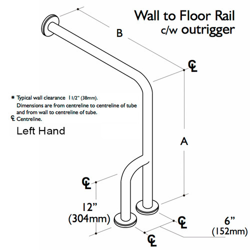 Custom Grab Bar, Wall to Floor Rail with Outrigger, 1 Wall, 1 Floor, 3 Flange - Left Hand