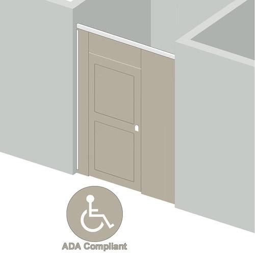 High Privacy Toilet Enclosure - 1 Stall ADA Between Walls Left Hand