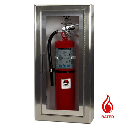 Semi-recessed Stainless Steel Fire Rated Extinguisher Cabinet - Cosmopolitan JL Industries