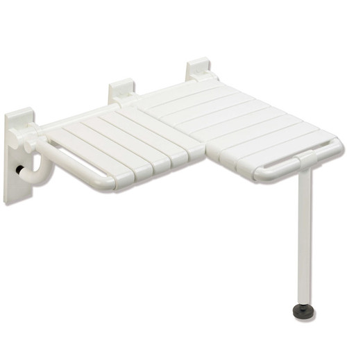 HEWI Nylon Fold Up Shower Seat - L Shaped with Floor Support - Series 801