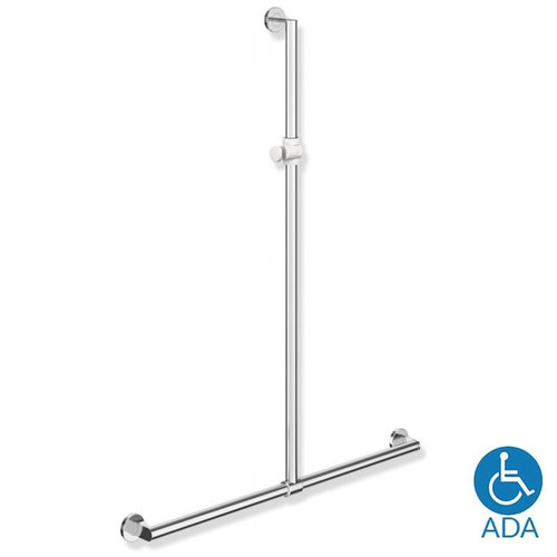 HEWI Stainless Steel Grab Bar with Adjustable Vertical Support - Series 900 - Default