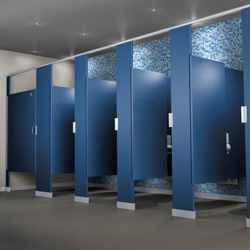 Solid Plastic Toilet Partitions - In Corner Layout