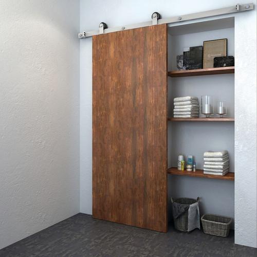 Hafele BD210 Stainless Steel Sliding Barn Door Hardware - Flat Track 220 lbs Door Max - Default