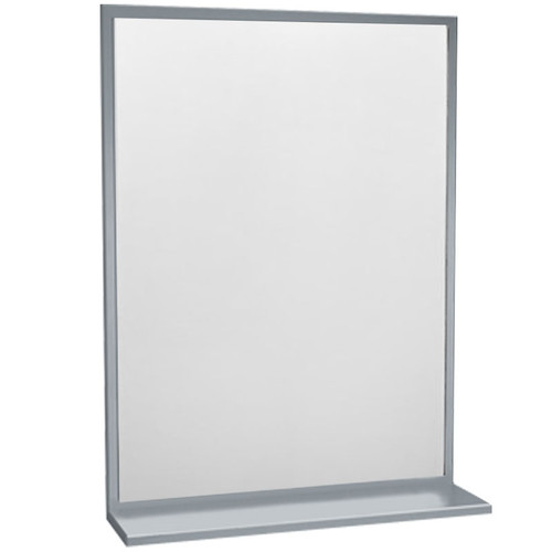 ASI Inter-Lok Stainless Steel Framed Mirror with Shelf - Tempered Glass