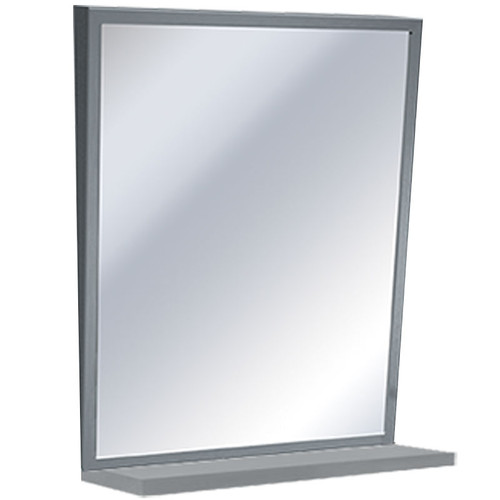 ASI Stainless Steel Framed Fixed Tilt Mirror With Shelf - Plate Glass