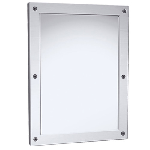 Bradley Framed Security Mirror - Polished 430 Stainless Steel - Front Mounted