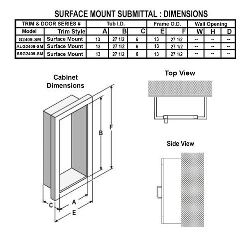 Surface Mounted Fire Extinguisher Cabinet - Larsen Gemini Series Submittal Data